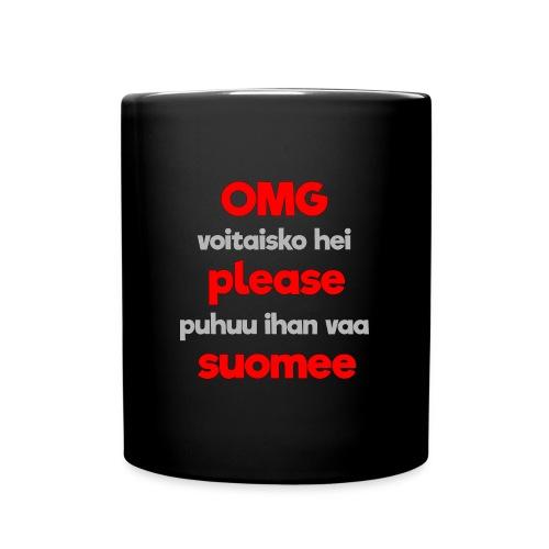 OMG please puhutaa suomee, punainen - Yksivärinen muki
