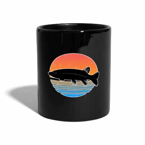 Retro Hecht Angeln Fisch Wurm Raubfisch Shirt - Tasse einfarbig