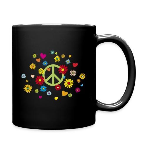 Peacezeichen Blumen Herz flower power Valentinstag - Full Colour Mug