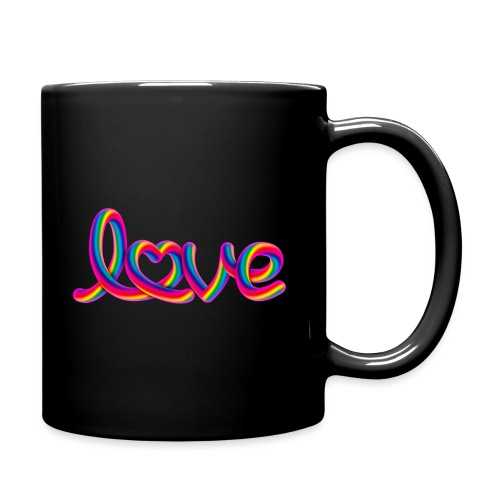 Rainbow love script with heart - Tasse einfarbig