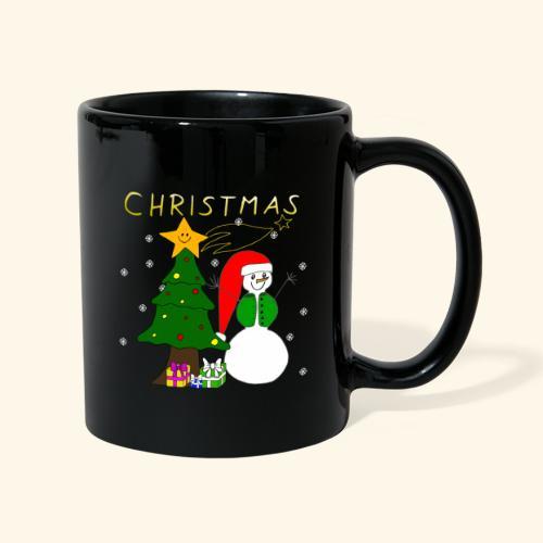 Christmas, Weihnachten, Schneemann, Weihnachtsbaum - Tasse einfarbig