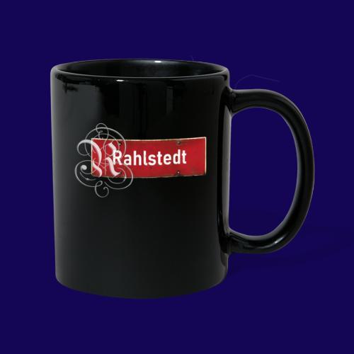 (Hamburg-) Rahlstedt Ortsschild + pompöses Initial - Tasse einfarbig