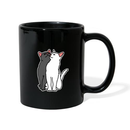 Katzen, kuscheln, süß, Comic, Geschenkidee - Tasse einfarbig