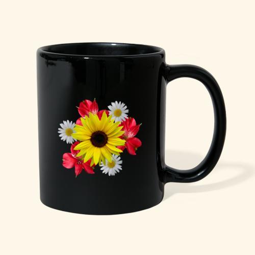 Blumenstrauß, Sonnenblume, Margeriten, rote Blumen - Tasse einfarbig