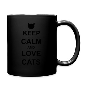 Keep Calm and Love Cats - Black - Full Colour Mug