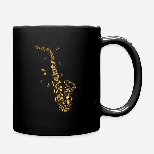 Goldenes Saxophon aus Musiknoten - Tasse einfarbig