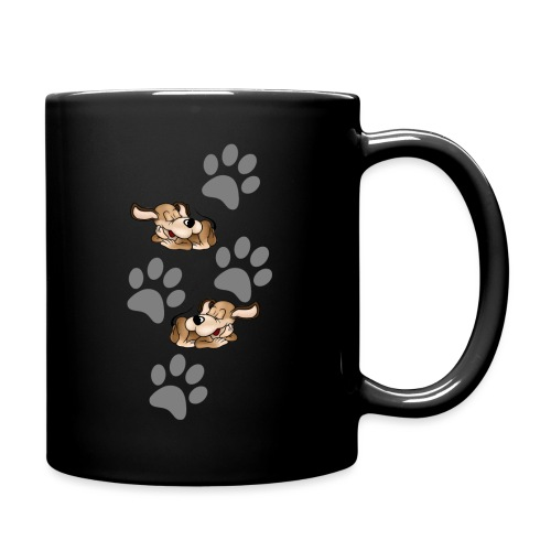 2 liegende Hunde - Tasse einfarbig
