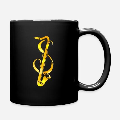 Goldenes Saxophone mit Notenschlüssel - Tasse einfarbig
