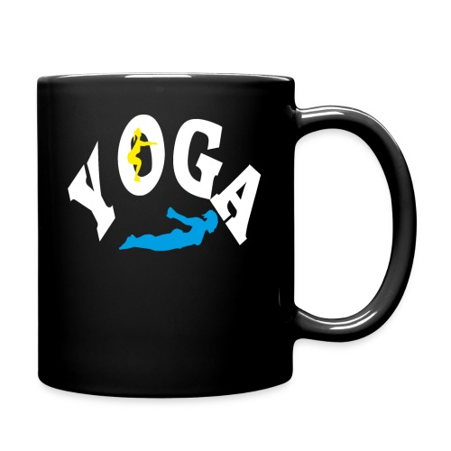 Yoga Schriftzug mit Posen Körperspannung Geschenk - Tasse einfarbig