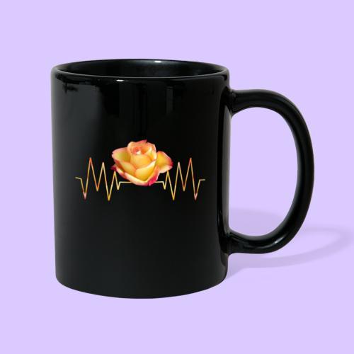 Rose, Herzschlag, Rosen, Blume, Herz, Frequenz - Tasse einfarbig