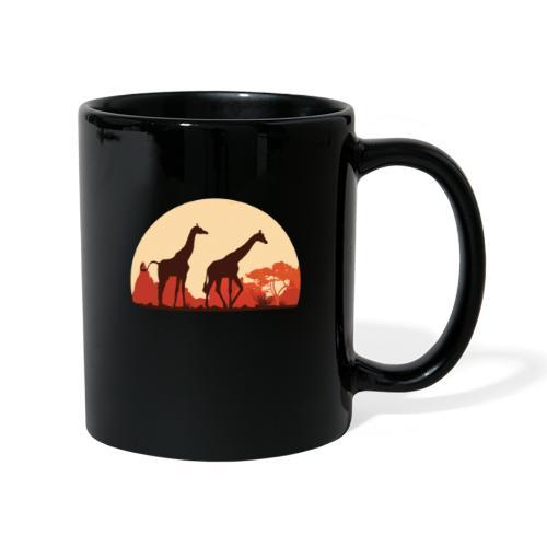 Giraffen Sonnenuntergang Afrika Geschenke - Tasse einfarbig