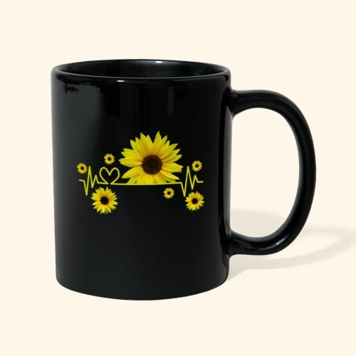 Sonnenblumen, Sonnenblume, Herzschlag, Herz, Blume - Tasse einfarbig