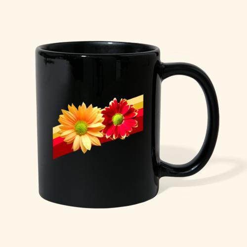 Blumen in den Farben rot und gelb, Blüten, floral - Tasse einfarbig