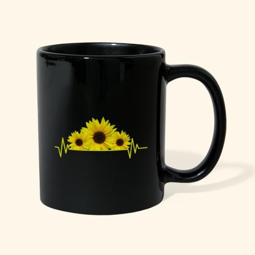 Sonnenblumen Herzschlag Sonnenblume Blumen Blüten - Tasse einfarbig