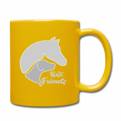 Hund und Pferd zusammen auf einem Design - Tasse einfarbig