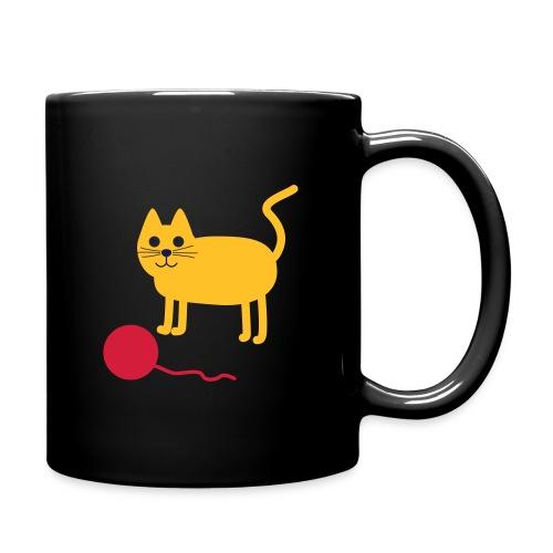Katze mit Wollknäul - Tasse einfarbig