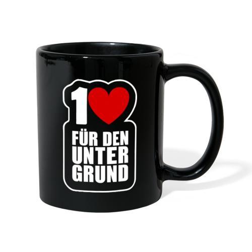 1 Herz für den Untergrund - Logo weiß - Tasse einfarbig