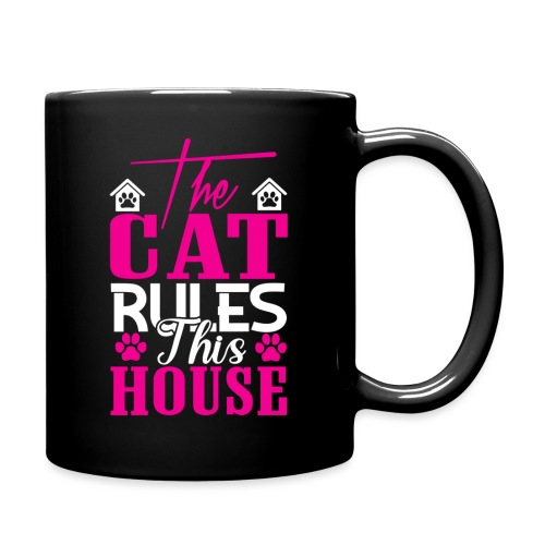 The cat rules this house - Tasse einfarbig