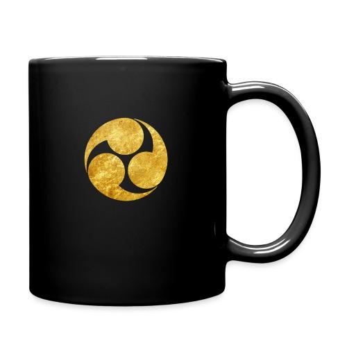 Kobayakawa Mon Japanese clan gold on black - Full Colour Mug