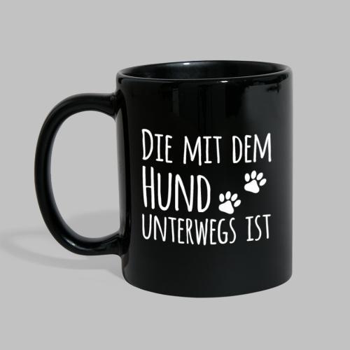 Die mit dem Hund unterwegs ist - Hundepfoten - Tasse einfarbig