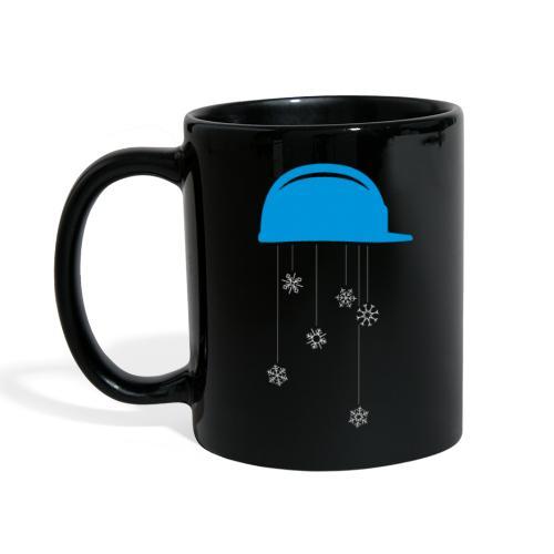 Bauhelm mit Schneeflocken - Tasse einfarbig