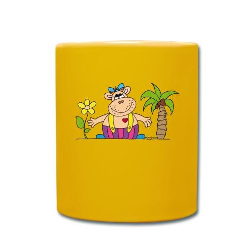 lustiges Nilpferd Sonnenblume Palme Hippo - Full Colour Mug