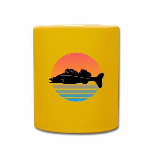 Retro Zander Angel Angler Raubfisch Geschenk Fisch - Tasse einfarbig