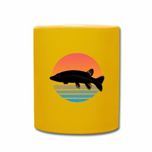 Retro Hecht Angeln Fisch Wurm Angler Raubfisch - Tasse einfarbig