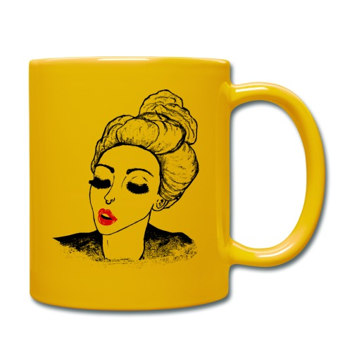 Vintage Retro Girl Kiss message - Full Colour Mug