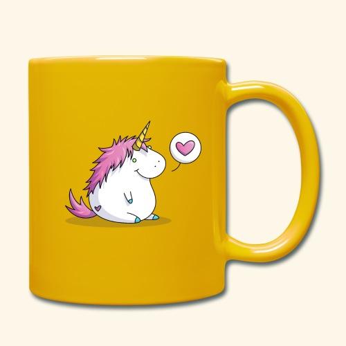 Fat Unicorn with Heart - Tasse einfarbig