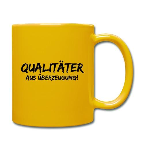 qualitäter aus überzeugung black - Tasse einfarbig