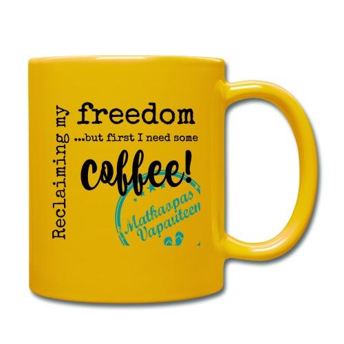 Kahvimuki Matkaopas Vapauteen, turkoosi - Yksivärinen muki