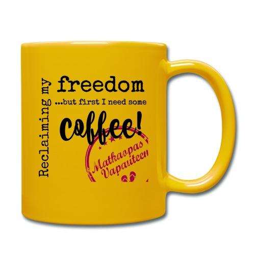 Kahvimuki Matkaopas Vapauteen, pun - Yksivärinen muki