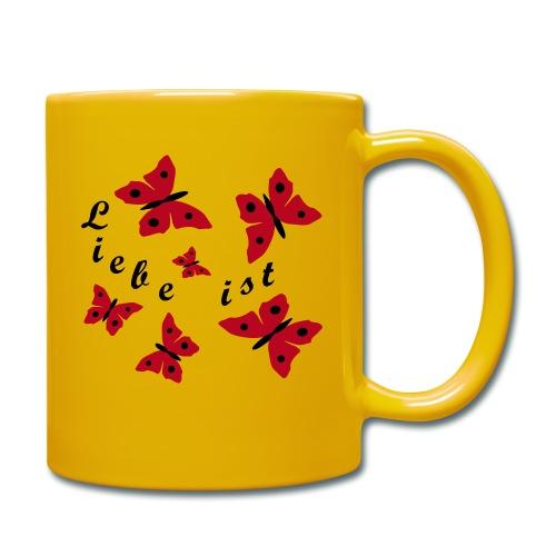 Liebe mit Schmetterlinge - Tasse einfarbig