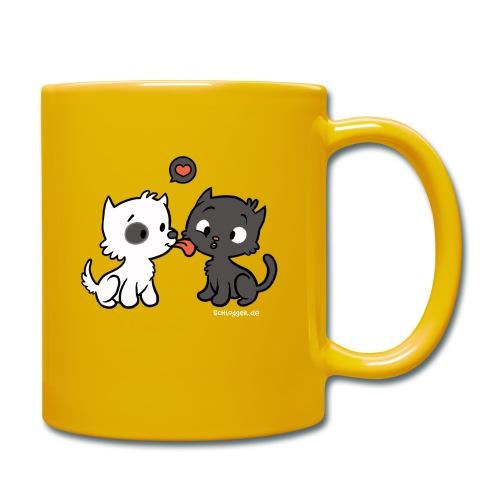 Hund liebt Katze - Tasse einfarbig