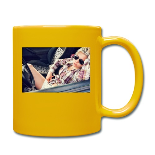 Cool woman in car - Full Colour Mug