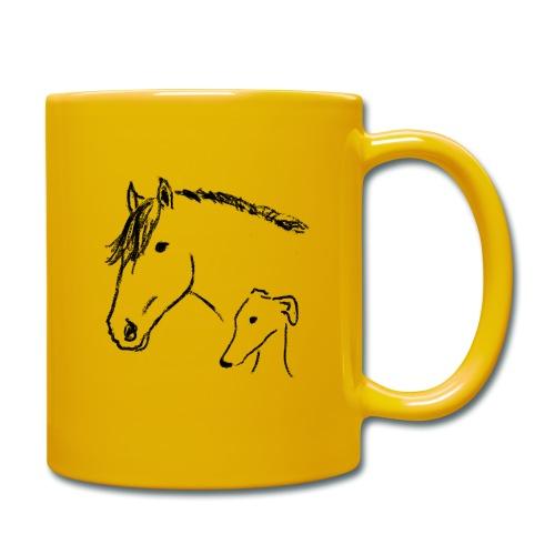 Windhund und Pferd - Tasse einfarbig
