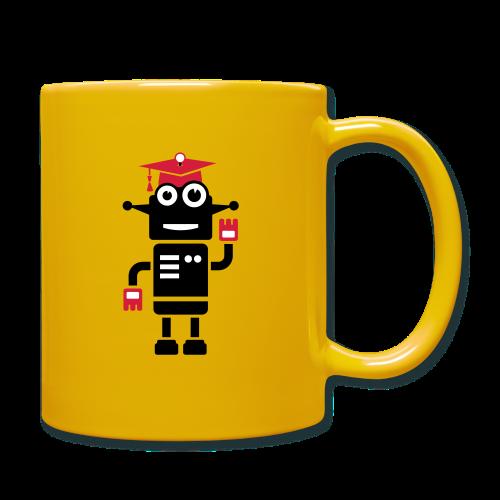 Roboter mit Doktorhut Geschenk zur Promotion - Tasse einfarbig