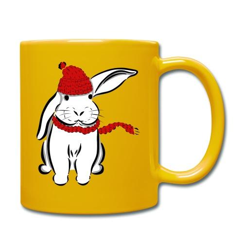Kaninchen Hase Mütze Schal Schlappohr Schneehase - Tasse einfarbig