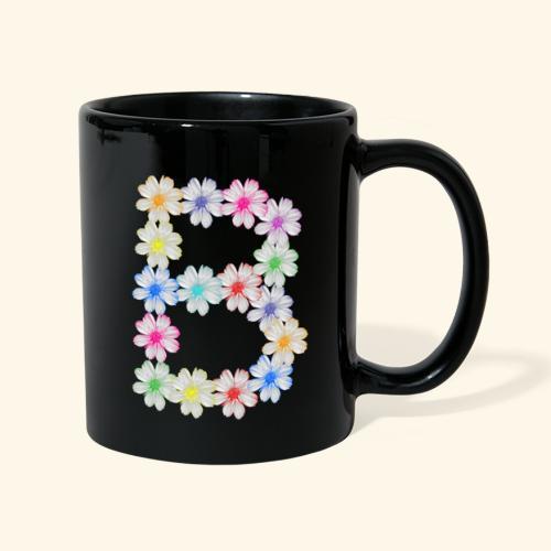 Buchstabe B aus Blumen, floral, Kosmee Blüten - Tasse einfarbig