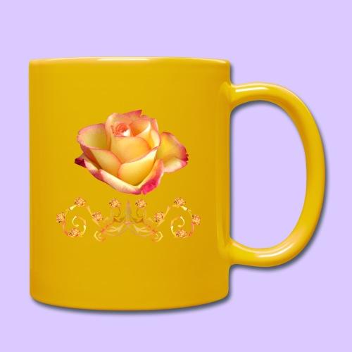 orange Rose, Ornament, Rosen, Blumen, Blüten, edel - Tasse einfarbig