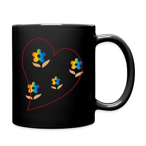 Blumen mit Herz in Regenbogenfarben - Tasse einfarbig