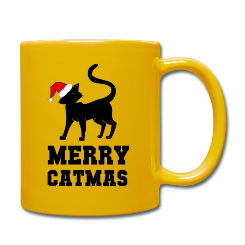 Merry Catmas - Silhouette - Tasse einfarbig