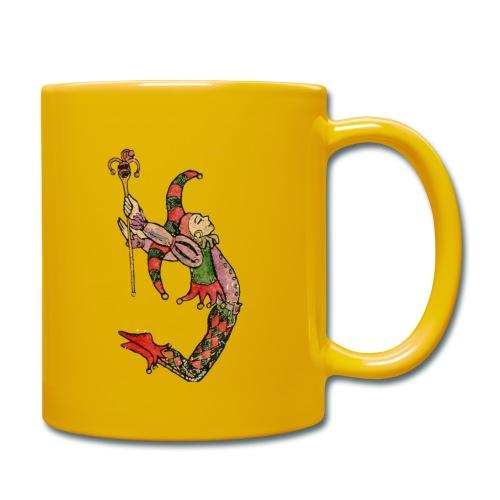Bufón arlequín, carta de tarot el tonto - Taza de un color