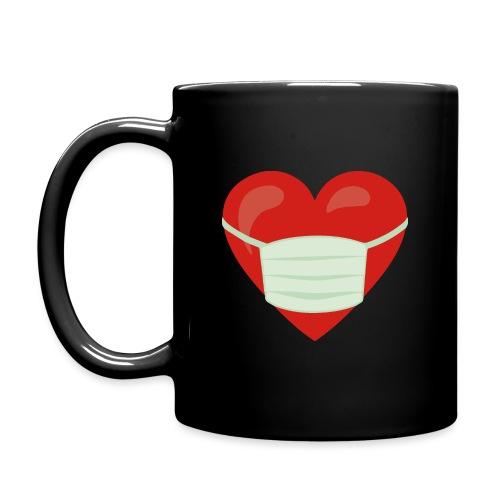 Herz mit Mundschutz - Tasse einfarbig