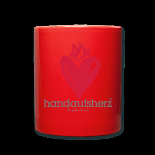 Hand aufs Herz - Tasse einfarbig