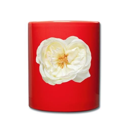 Weiße Rose (aus Stoff) - Tasse einfarbig