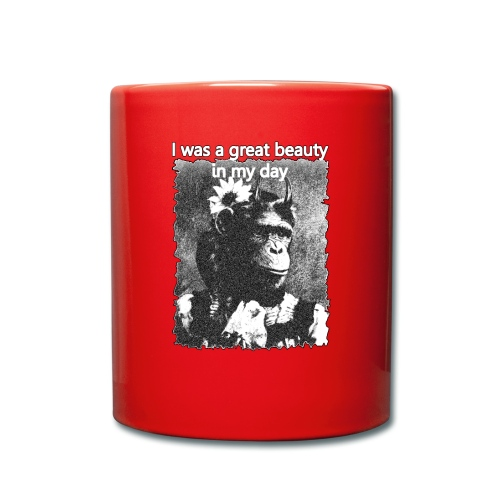 Funny Chimpanzee Old Age Joke Design - Full Colour Mug