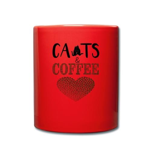 Katzen und Kaffee Schwarze Schrift - Tasse einfarbig