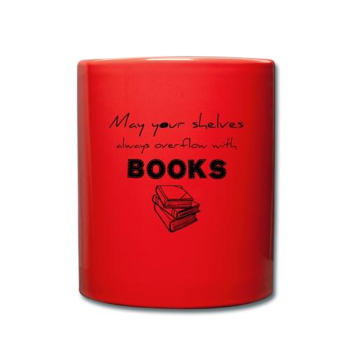 0033 Full Bookshelf   High stack of books   Read - Full Colour Mug